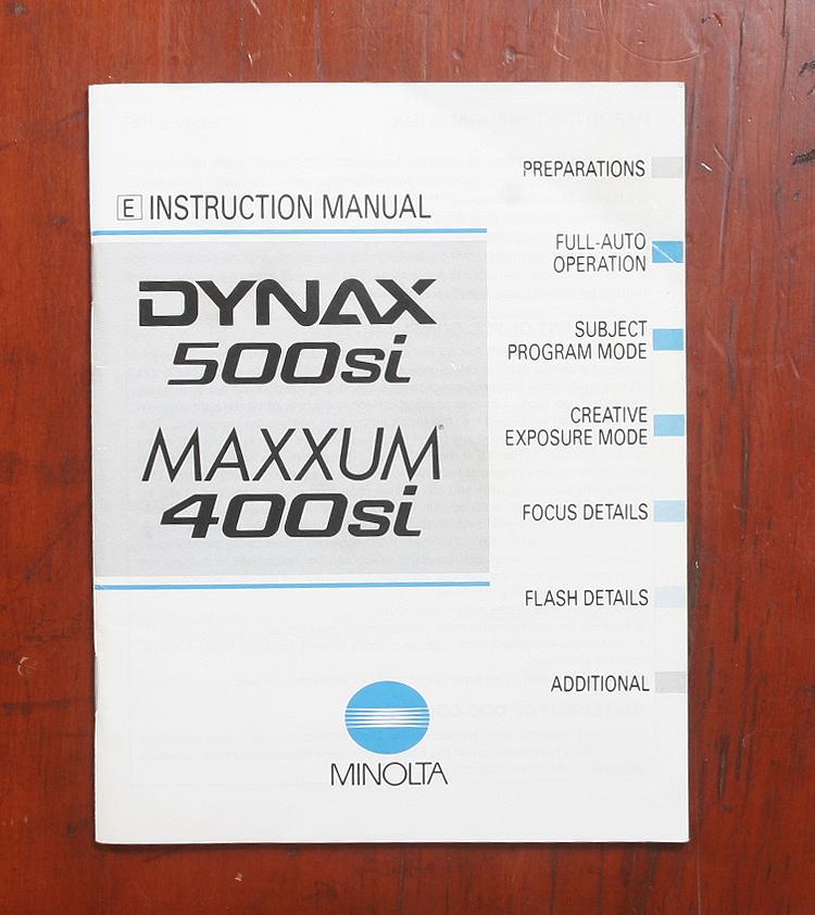 manual minolta maxxum 500si