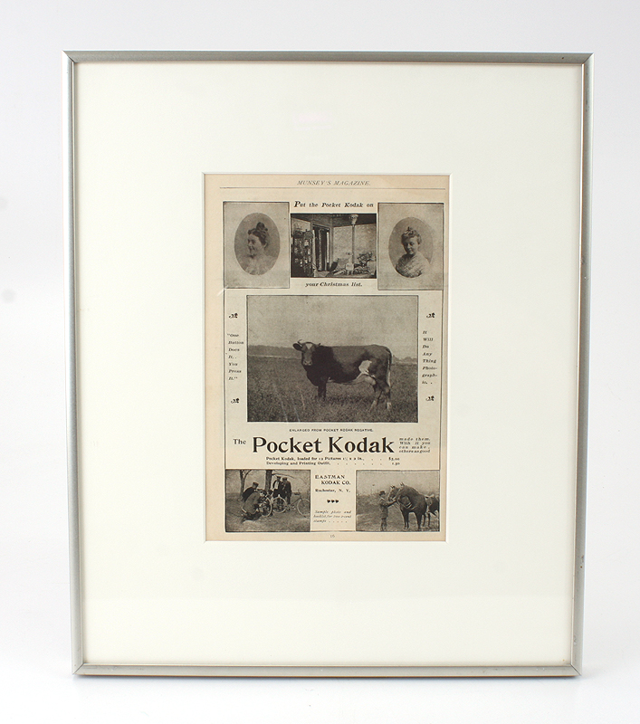 191784 kodak framed ad for kodak from 1904 ad is roughly 9 x 125 inches matted and framed in a roughly 14 x 17 inch frame looks ex 3500